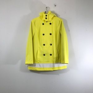 Talbots Yellow/ White Trench Raincoat Size Large